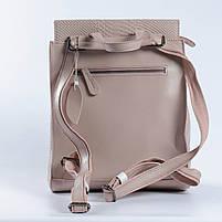 """Жіночий рожевий (пудровий) рюкзак-сумка з натуральної шкіри з тисненням """" під зміїну шкіру Tiding Bag - 76545, фото 4"""