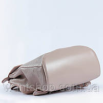 """Жіночий рожевий (пудровий) рюкзак-сумка з натуральної шкіри з тисненням """" під зміїну шкіру Tiding Bag - 76545, фото 5"""
