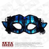 """Венецианская маска """"Мариетта"""" голубая с чёрными рюшами"""
