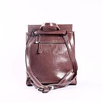 """Жіночий рожевий (лілово-рожевий) шкіряний рюкзак-сумка з тисненням """" під зміїну шкіру Tiding Bag - 24884, фото 4"""