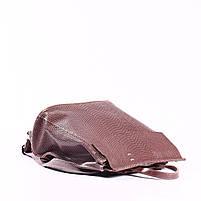 """Жіночий рожевий (лілово-рожевий) шкіряний рюкзак-сумка з тисненням """" під зміїну шкіру Tiding Bag - 24884, фото 5"""