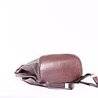 """Жіночий рожевий (лілово-рожевий) шкіряний рюкзак-сумка з тисненням """" під зміїну шкіру Tiding Bag - 24884, фото 6"""