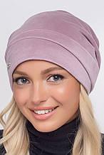 Стильная трикотажная женская шапка