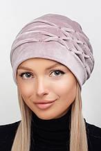 Стильная велюровая женская шапка