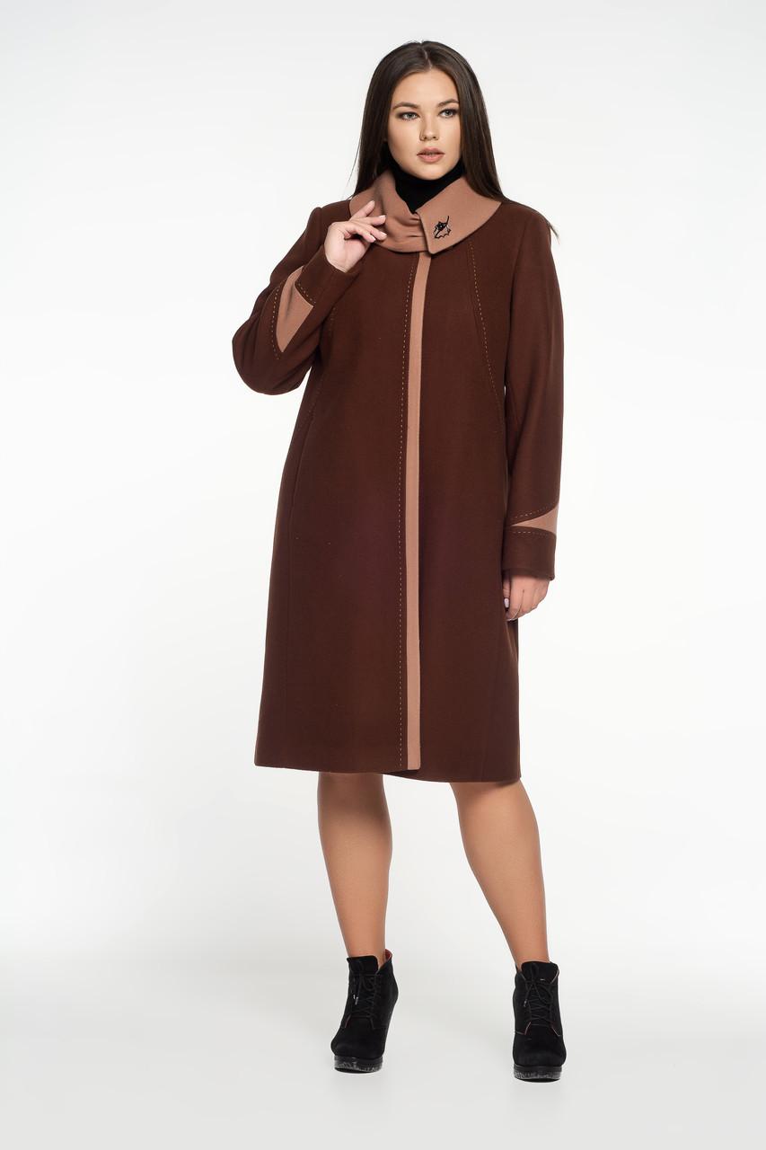 Пальто женское контрастая отделка бронзовое