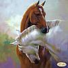 """Рисунок на ткани для вышивания бисером """"Я с тобой. Лошади"""""""