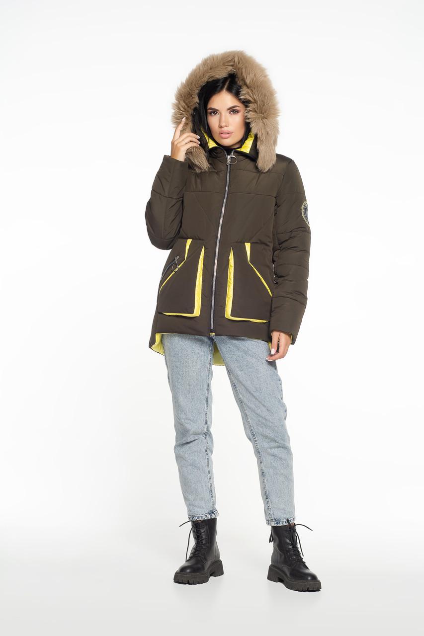 Зимова куртка узлісся песець хакі + жовтий