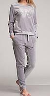 Женский комплект с карманами велюровый серый