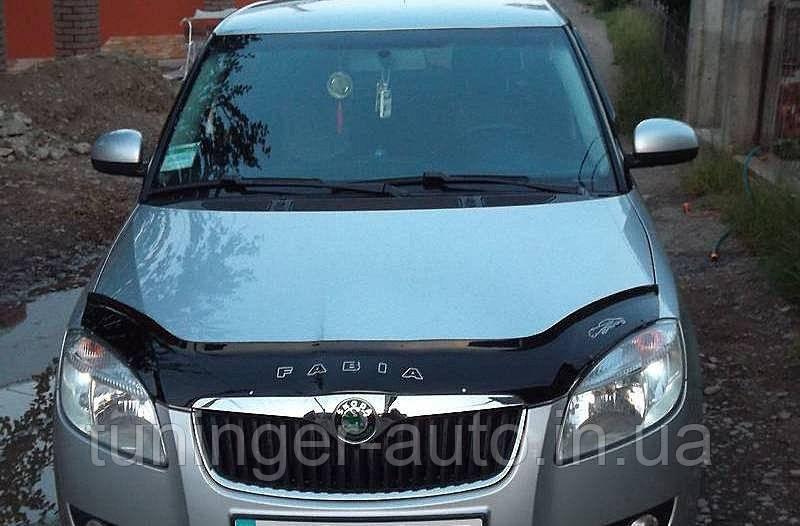 Мухобойка, дефлектор капота Skoda Fabia II 2007-2009 /Roomster 2008-2009 (VIP)