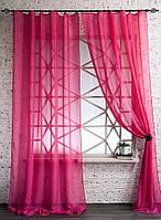 Декоративные шторки из вуали №2(Барби-насыщенный розовый)