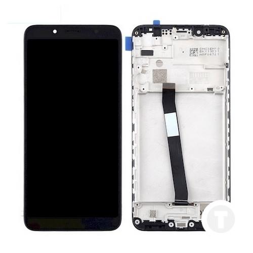 Дисплей (экран) для Xiaomi Redmi 7a с сенсором/ тачскрином (Модуль) черный с рамкой (передней панелью)