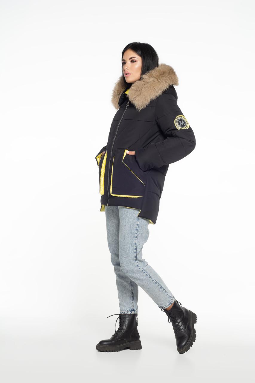 Зимова куртка узлісся песець чорна