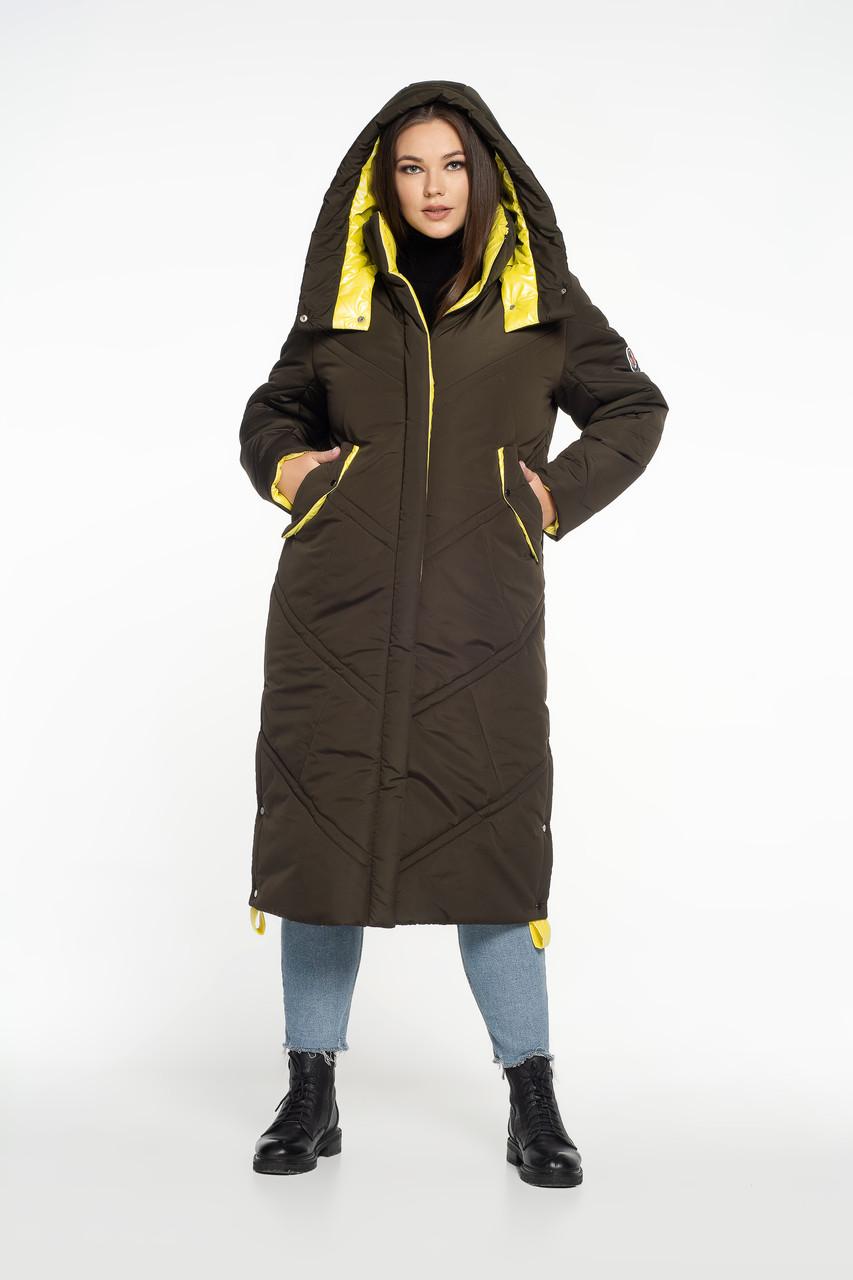 Зимняя куртка макси с контрастной отделкой хаки + желтый