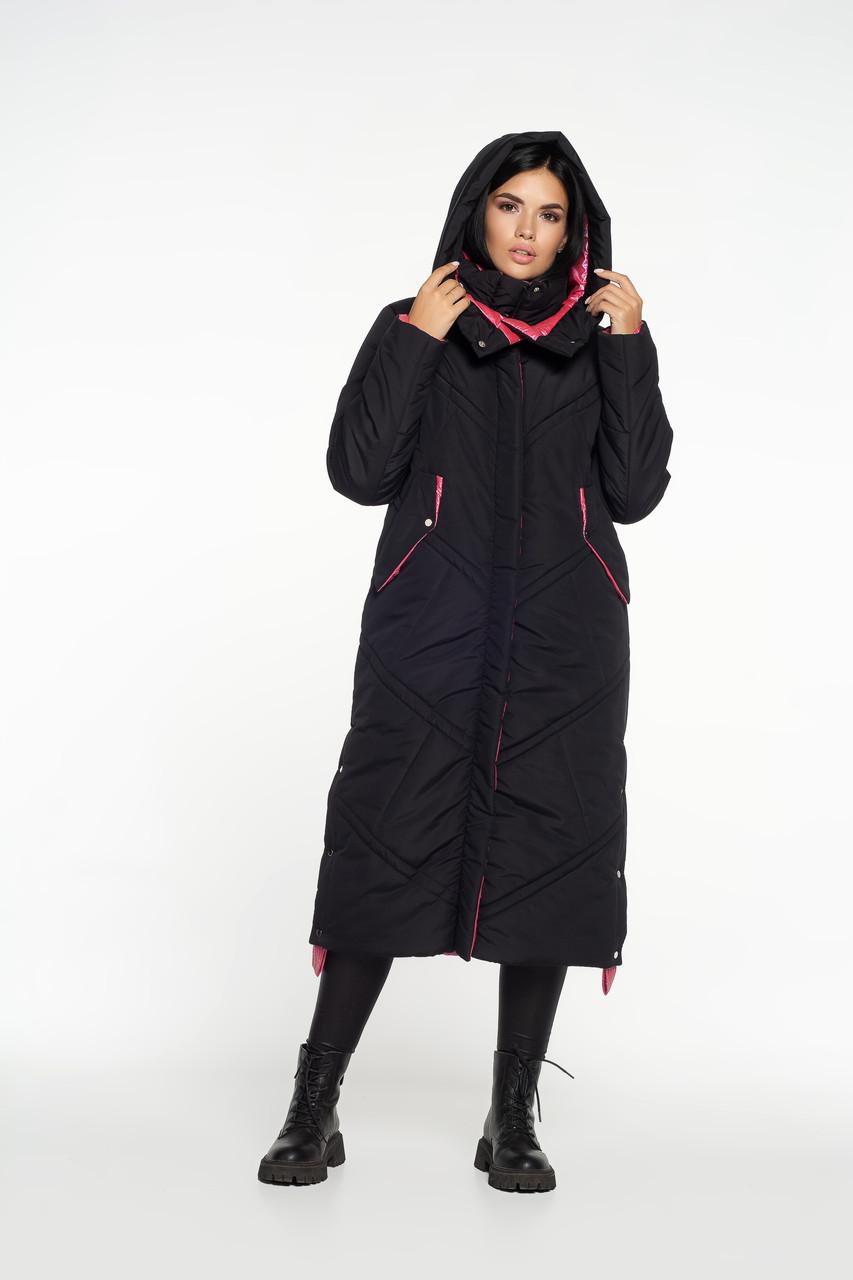 Зимова куртка максі з контрастною обробкою чорна