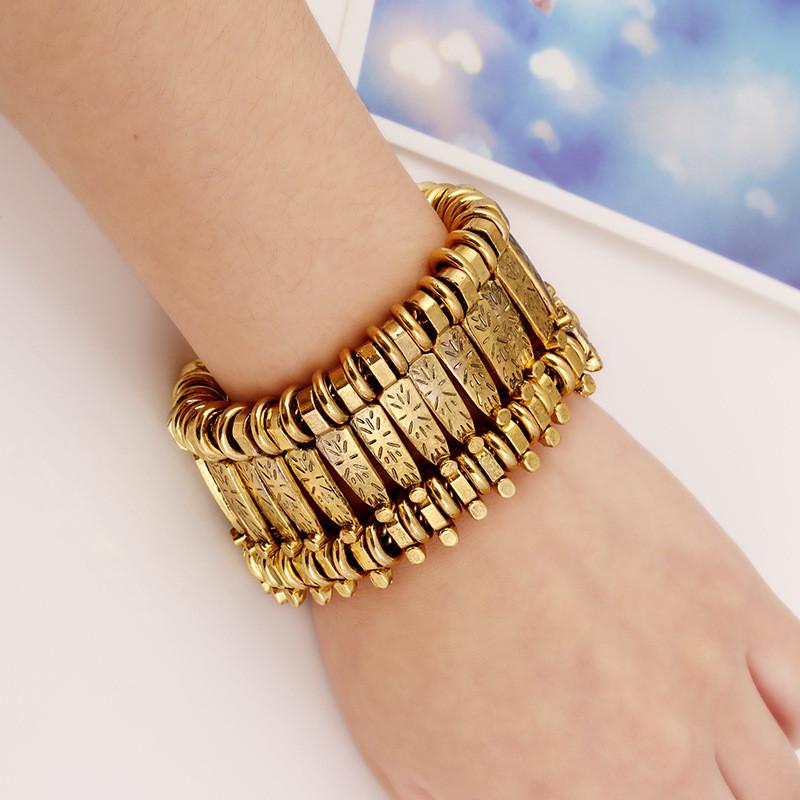 Жіночий Браслет City-A колір Золотий Масивний Дизайнерський Ретро Вінтаж 18 Розмір №3173