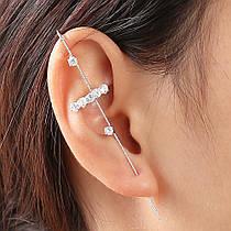 Сережки Кафи у формі гачка з кристалом Пусети Гвоздики City-A Колір Срібло №3036