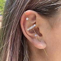 Сережки Кафи у формі гачка з кристалом Пусети Гвоздики City-A Колір Срібло Позолочені №3041