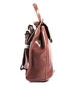 Жіночий темно-рожевий (пудровий) міський рюкзак з натуральної шкіри Tiding Bag - 87671, фото 3