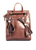 Жіночий темно-рожевий (пудровий) міський рюкзак з натуральної шкіри Tiding Bag - 87671, фото 4
