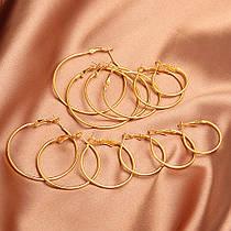 Сережки з Кільцями City-A Круглі Кільця Колір Золотий Набір Сережок з 12 шт