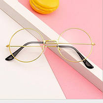 Имиджевые очки нулевки City-A Круглые с прозрачными стеклами Золотые