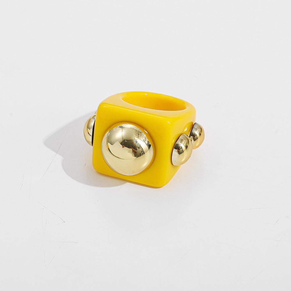 Кільце Жіноче City-A Акрилове Жовте Розмір 17.5 Масивний Перстень з Пластику, Акрилу №3284