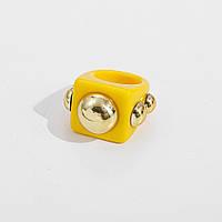 Кільце Жіноче City-A Акрилове Жовте Розмір 17.5 Масивний Перстень з Пластику, Акрилу №3284, фото 1