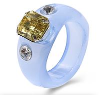 Кольцо Женское City-A Акриловое Синее Размер 17.5 Перстень из Пластика Смолы Акрила №3309