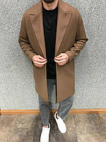 Мужское пальто демисезонное молодежное (коричневое) повседневная мужская одежда 6111