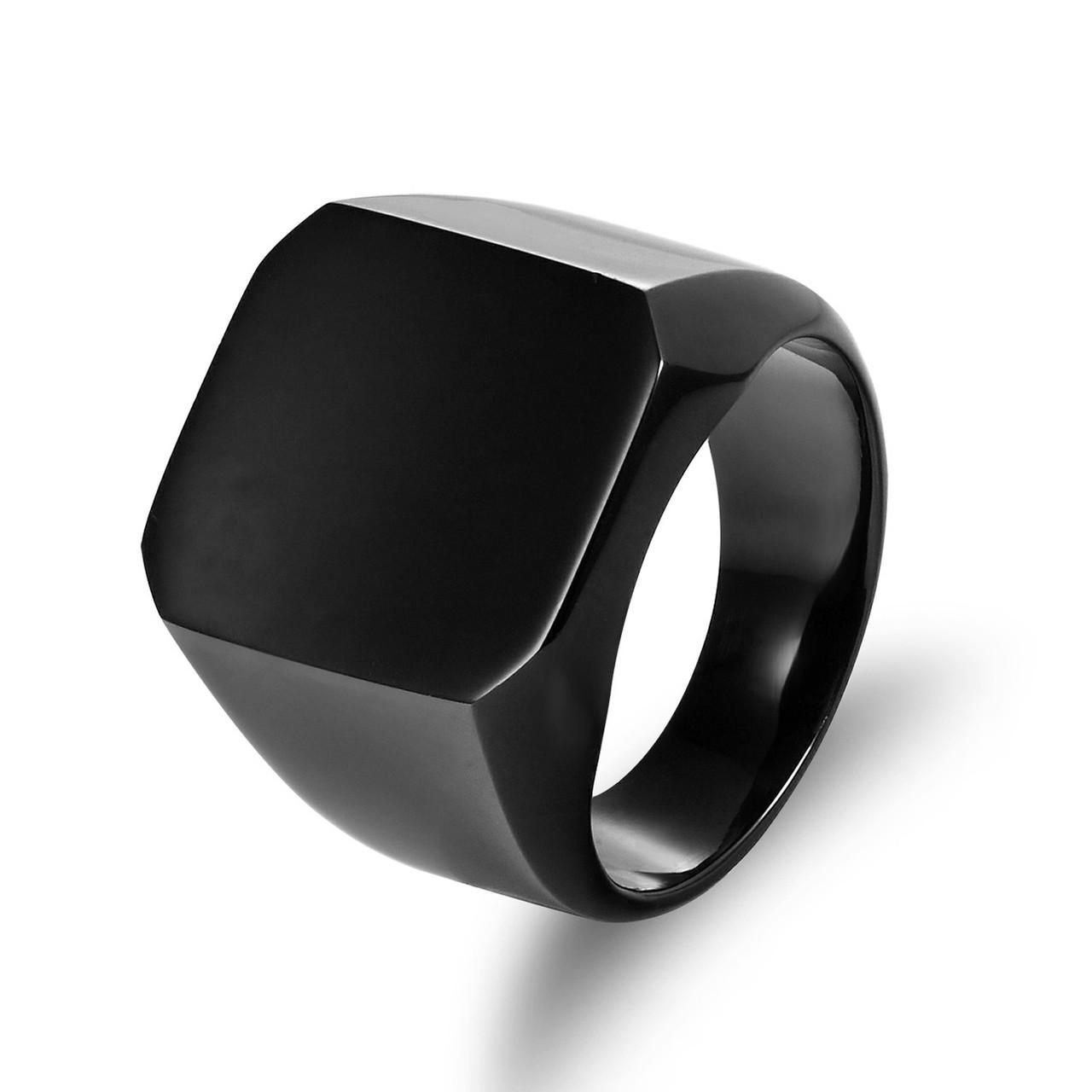Кольцо Мужское City-A Размер 20 цвет Черное Нержавеющее Квадратное Перстень Печатка Винтаж №3272