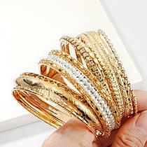 Набір Жіночих Браслетів Кільцями з 9 шт City-A колір Золоті з Каменем Витончені Милі №3180