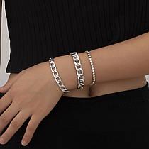 Набір Жіночих Браслетів Ланцюжків з 3 шт City-A Срібних (колір) з Ланцюжком та Камінням Милі №3043