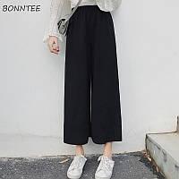 Женские брюки кюлоты черные
