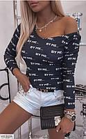 Кофта жіноча облягає турецька з модними написами по фігурі р-ри 42-48 арт. 3138/3140, фото 1