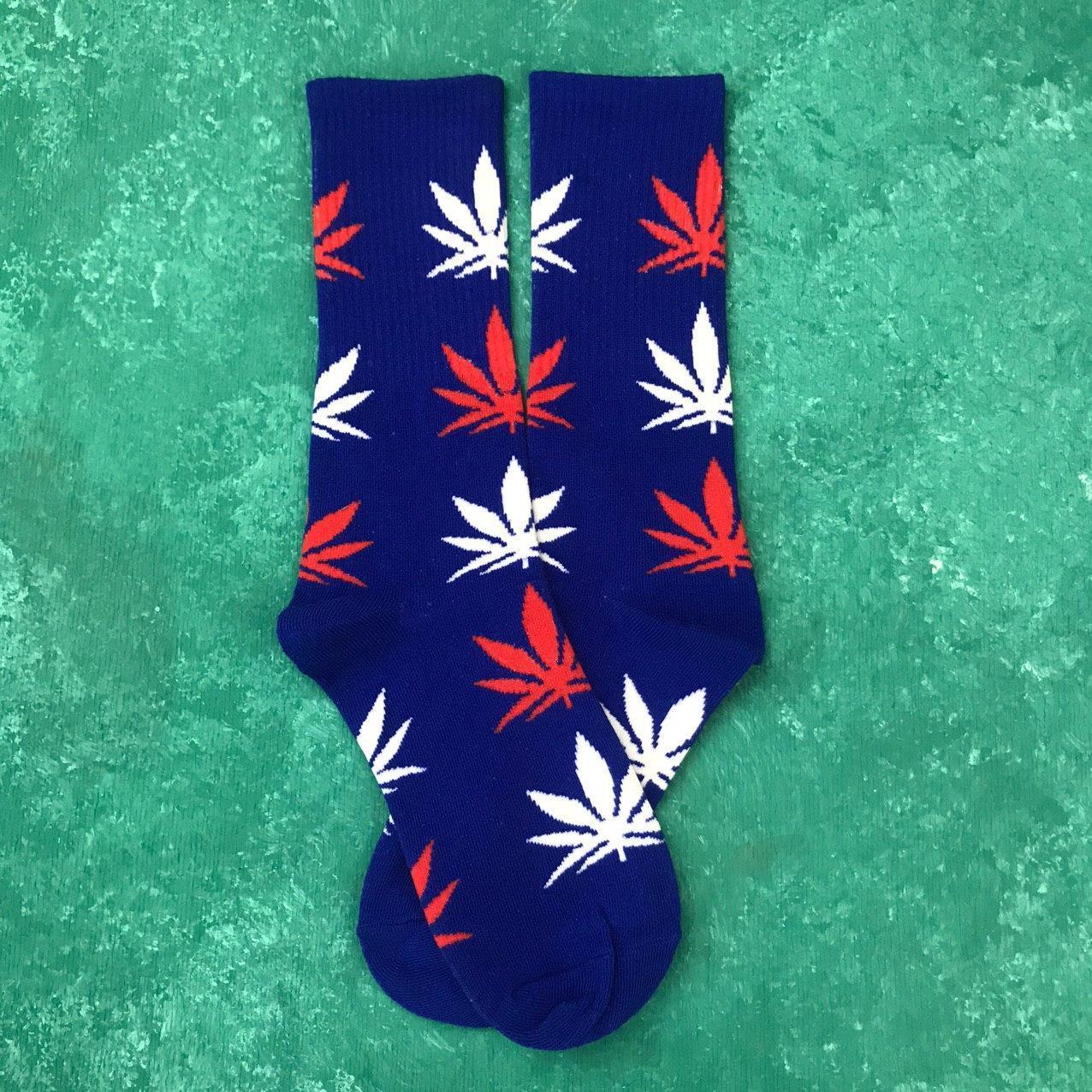 Шкарпетки Високі Жіночі Чоловічі City-A HUF Plantlife Сині з Різнобарвним листям 37-43