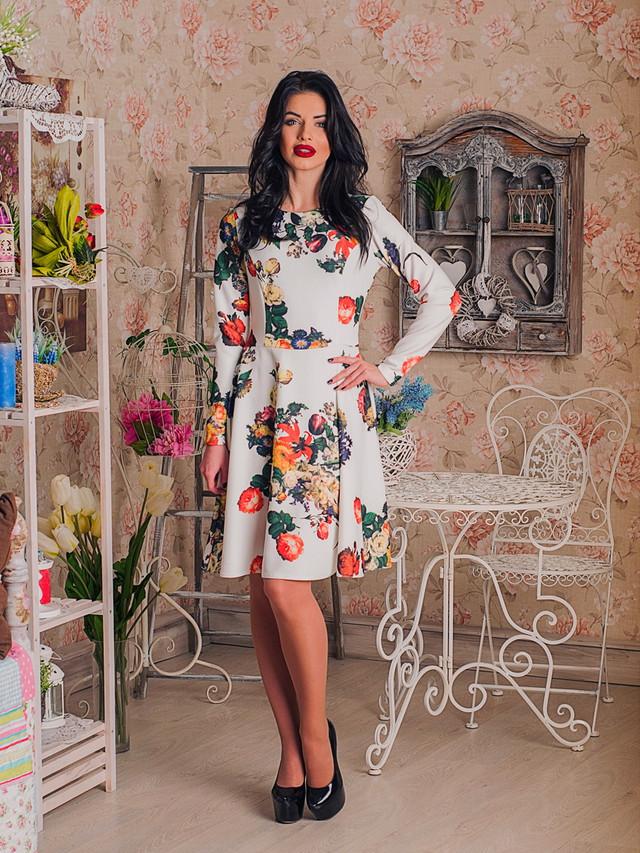 Нарядное женское платье с цветочным принтом Зарина