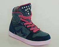 Демисезонные ботинки для девочек B&G арт.BG2215-546 малиновые шнурки, фото 1
