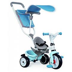 Детский велосипед Smoby с козырьком, багажником и сумкой Голубой (741400)