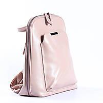 Жіночий шкіряний рюкзак-трансформер в ніжно-рожевому кольорі Tiding Bag - 05905, фото 2