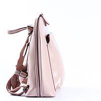 Жіночий шкіряний рюкзак-трансформер в ніжно-рожевому кольорі Tiding Bag - 05905, фото 3