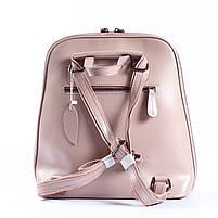 Жіночий шкіряний рюкзак-трансформер в ніжно-рожевому кольорі Tiding Bag - 05905, фото 4
