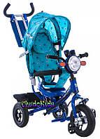 Детский трехколесный велосипед с надувными колесами и фарой