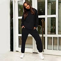 Женский спортивный костюм двунитка однотонный демисезонный 2 в 1 худи с капюшоном и брюки джоггеры M Black, Чорний
