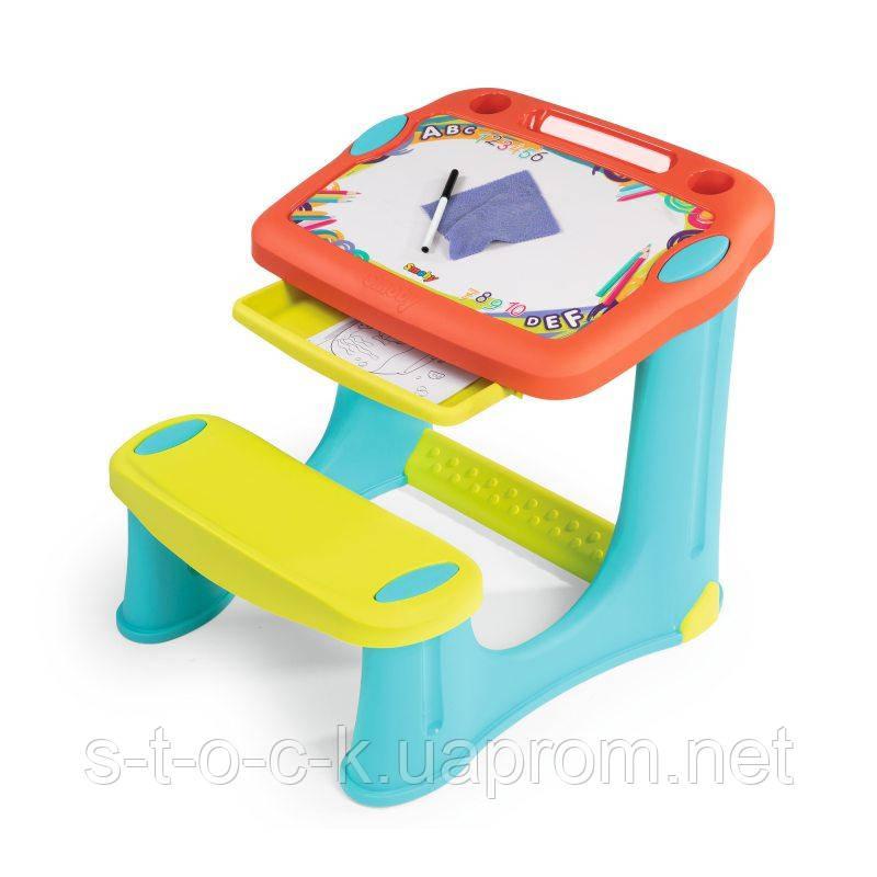 Детская парта  Smoby - Magic Table с доской для рисования. Настольная скамья + аксессуары 420221