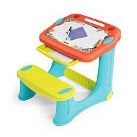 Детская парта  Smoby - Magic Table с доской для рисования. Настольная скамья + аксессуары 420221, фото 1
