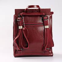 """Жіночий червоний рюкзак-сумка з натуральної шкіри з тисненням """" під зміїну шкіру Tiding Bag - 34376, фото 4"""