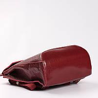 """Жіночий червоний рюкзак-сумка з натуральної шкіри з тисненням """" під зміїну шкіру Tiding Bag - 34376, фото 6"""
