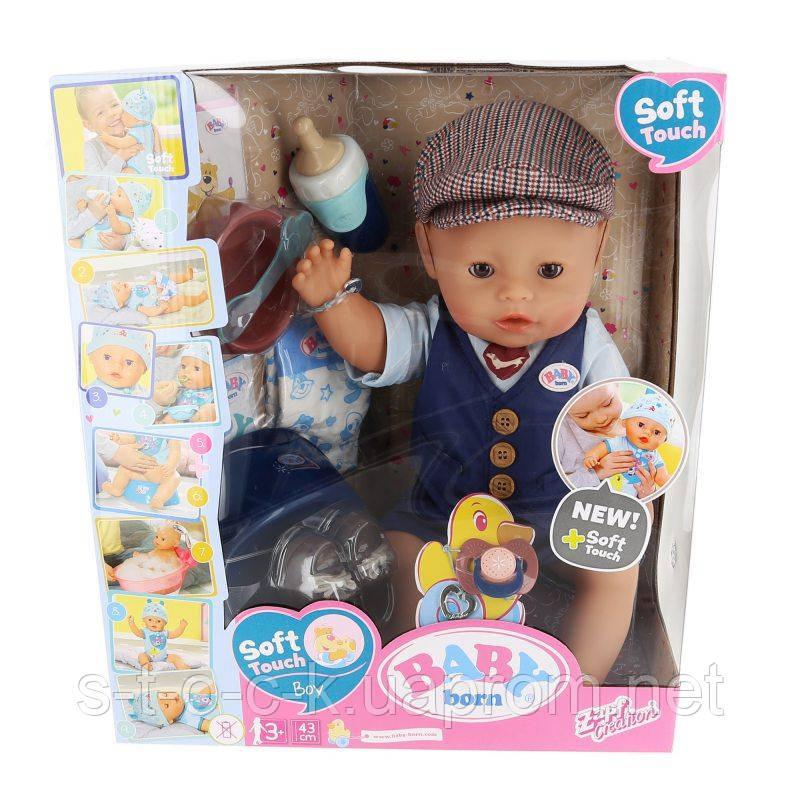 BABY Born мальчик - Интерактивная кукла Soft Touch Boy City Boy 43 см 831274
