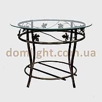 Столик кованый круглый металический стекляный журнальный М050