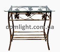 Столик кованый прямоугольный металический стекляный журнальный М051